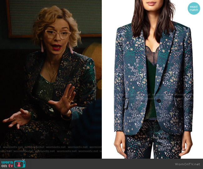 Viking Mixed-Print Jacquard Blazer by Zadig & Voltaire worn by Pepper Smith (Julia Chan) on Katy Keene
