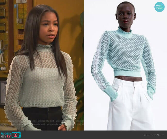 Knit Sweater with Ruffles by Zara worn by Nia Baxter (Navia Robinson) on Ravens Home