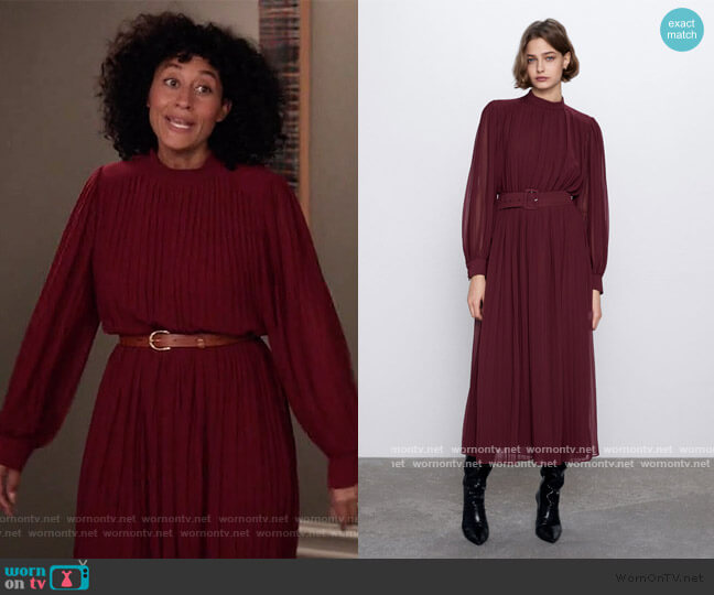 Pleated Midi Dress by Zara worn by Rainbow Johnson (Tracee Ellis Ross) on Blackish