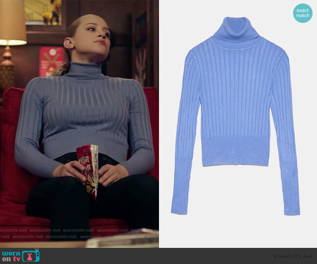 Ribbed Turtleneck Sweater by Zara worn by Betty Cooper (Lili Reinhart) on Riverdale