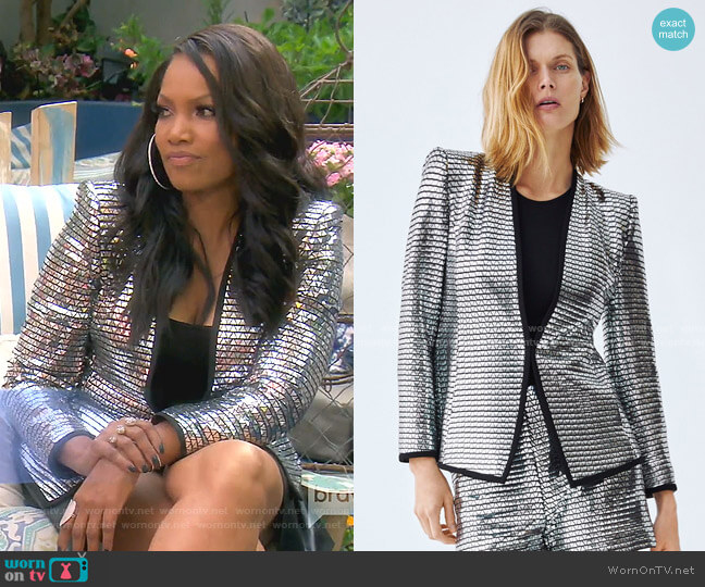 Shimmery Blazer by Zara worn by Garcelle Beauvais  on The Real Housewives of Beverly Hills