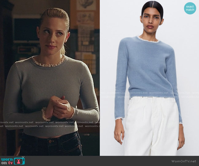 Dotted Mesh Collar Sweater by Zara worn by Betty Cooper (Lili Reinhart) on Riverdale