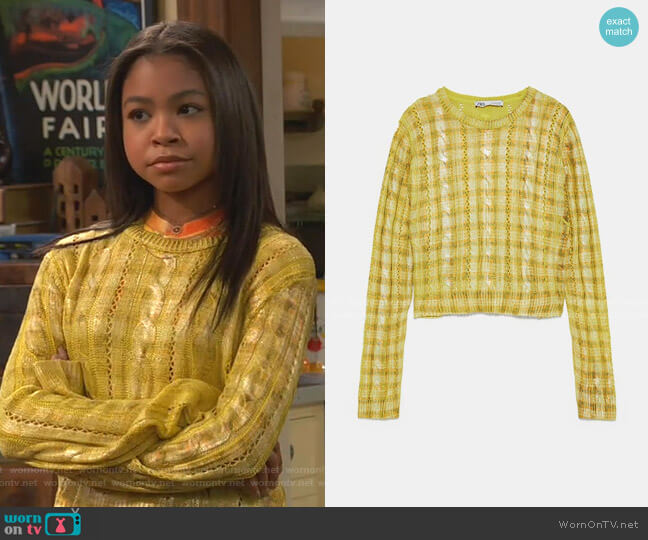 Metallic Cable Knit Sweater by Zara worn by Nia Baxter (Navia Robinson) on Ravens Home