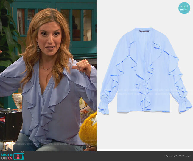Ruffled Blouse by Zara worn by Chelsea Grayson (Anneliese van der Pol) on Ravens Home
