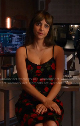 Zari's black rose print dress on Legends of Tomorrow