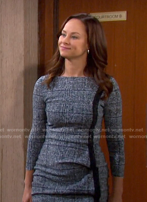 Zoey's blue plaid dress on Days of our Lives