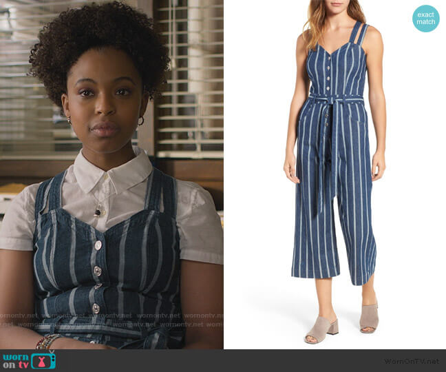Denim Culotte Jumpsuit by 7 For All Mankind worn by Ani (Grace Saif) on 13 Reasons Why