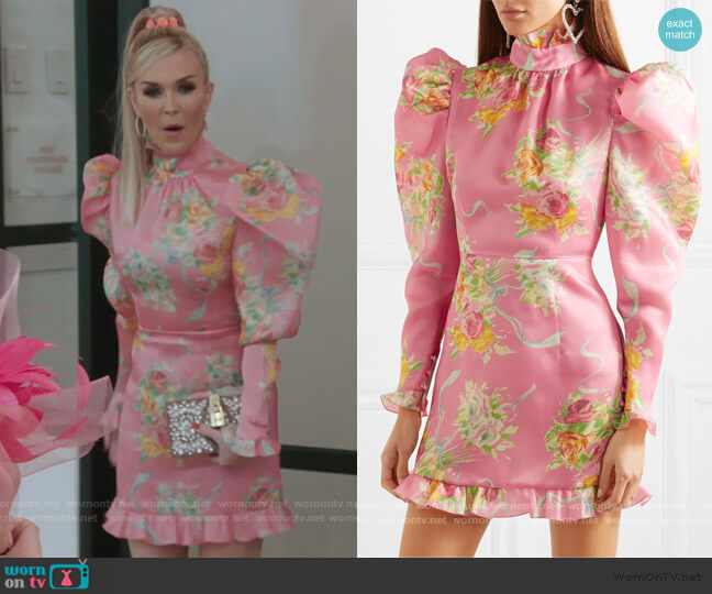Ruffle-trimmed floral-print silk-organza mini dress by Alessandra Rich worn by Tinsley Mortimer  on The Real Housewives of New York City