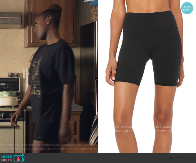 High-Waist Biker Shorts by Alo Yoga worn by Issa Dee (Issa Rae) on Insecure