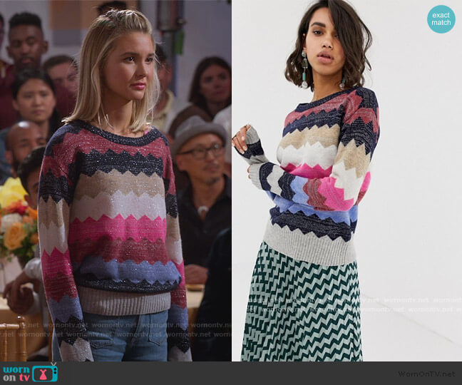 Custommade Zigzag Sparkly Sweater by Asos worn by Katie Cooper (Isabel May) on Alexa & Katie