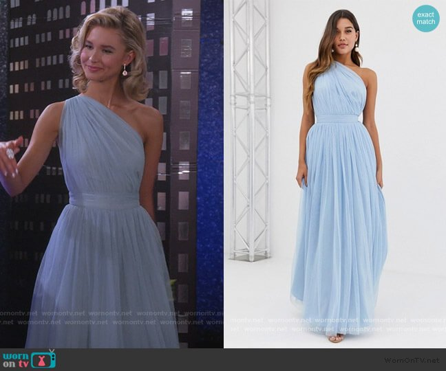 One Shoulder Tulle Maxi Dress by ASOS worn by Katie Cooper (Isabel May) on Alexa & Katie
