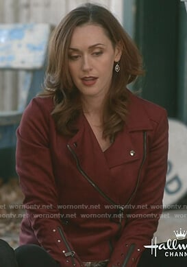 Abigail's red suede moto jacket on Good Witch