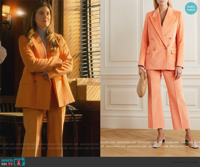 Corduroy Blazer and Pants by Acne Studios worn by McAfee (Laura Dreyfuss) on The Politician