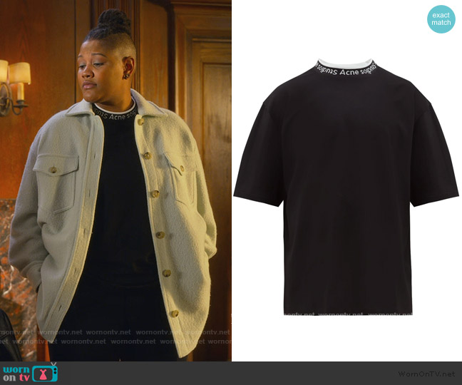 Extorr logo-collar jersey T-shirt by Acne Studios worn by Skye (Rahne Jones) on The Politician