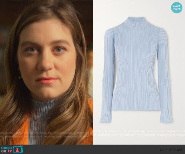 High Neck Ribbed Cotton Blend Top by Acne Studios worn by McAfee (Laura Dreyfuss) on The Politician
