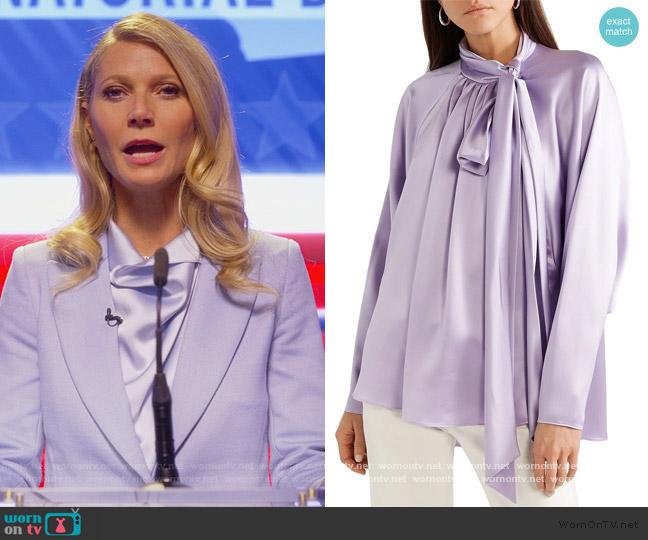 Pussy-bow silk-satin Blouse by Adam Lippes worn by Georgina Hobart (Gwyneth Paltrow) on The Politician