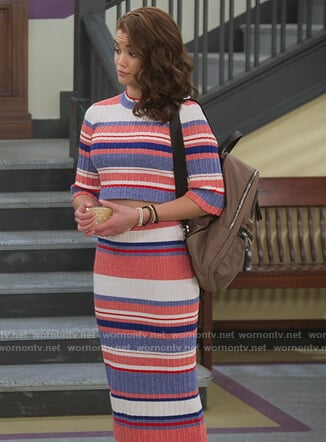 Alexa's stripe ribbed sweater and skirt on Alexa & Katie