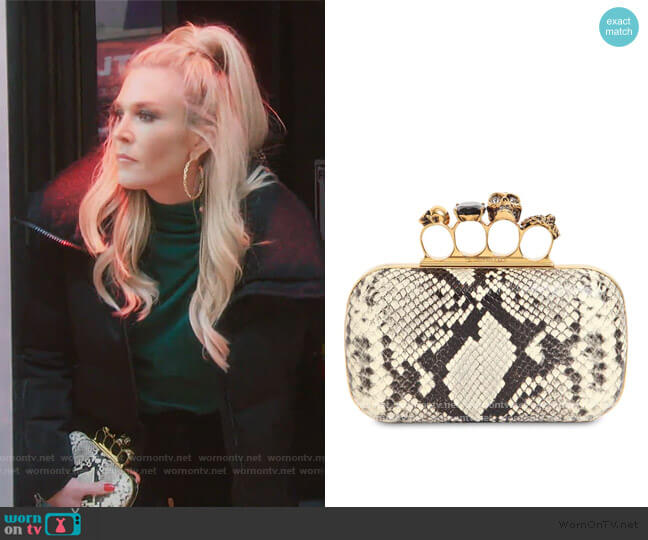 Skull Ring Python Print Leather Clutch by Alexander McQueen worn by Tinsley Mortimer  on The Real Housewives of New York City