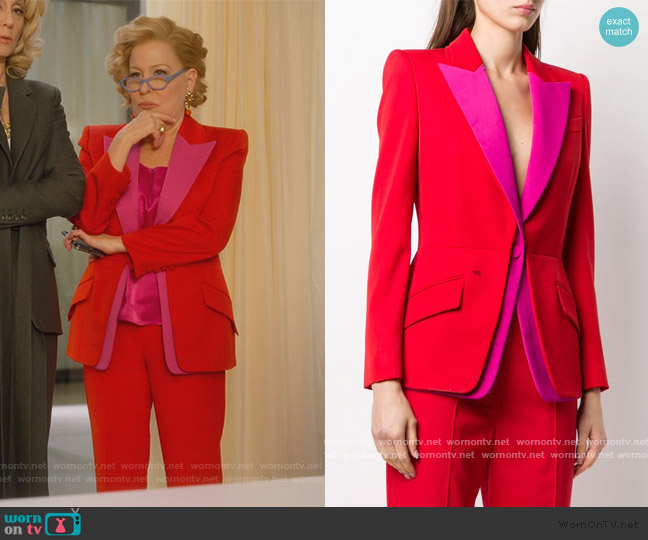 Colorblock Blazer and Pants by Alexander McQueen worn by Hadassah Gold (Bette Midler) on The Politician