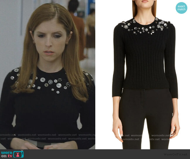 Button Detail Wool Blend Sweater by Alexander McQueen worn by Darby (Anna Kendrick) on Love Life