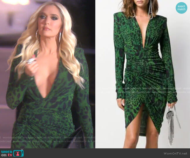 Animal Print Ruched Dress by Alexandre Vauthier worn by Erika Girardi  on The Real Housewives of Beverly Hills