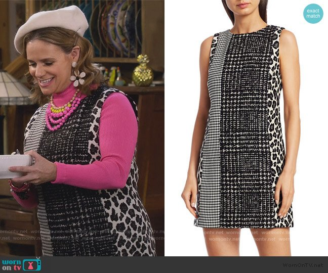 Clyde Patchwork Shift Dress by Alice + Olivia worn by Kimmy Gibbler (Andrea Barber) on Fuller House