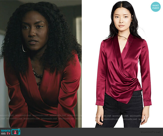 Aurora Mock Wrap Top by Alice + Olivia worn by Lauren Turner (Jade Eshete) on Billions