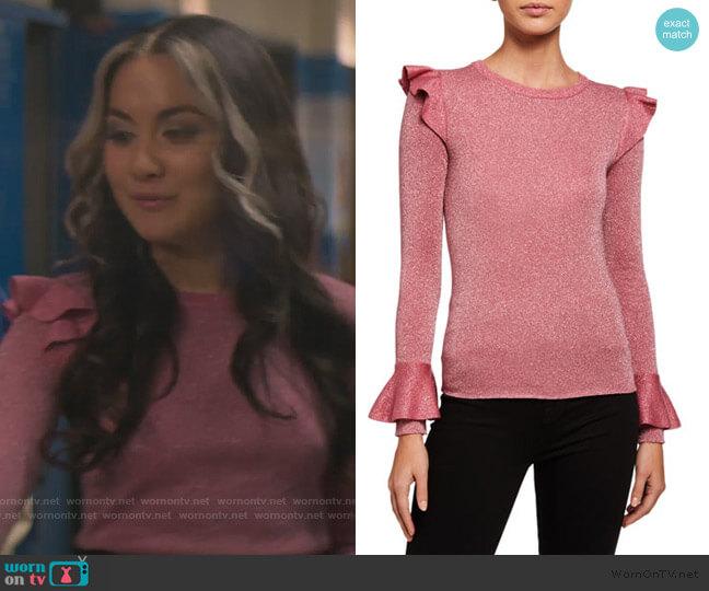 Mittie Ruffled Sweater by Alice + Olivia worn by Cindy Burman (Meg DeLacy) on Stargirl