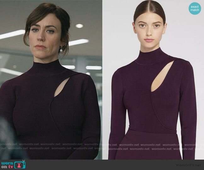 Sophie Cutout Turtleneck by Alice + Olivia worn by Wendy Rhoades (Maggie Siff) on Billions
