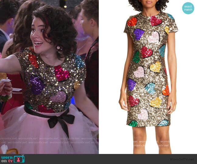Nat Heart Sequin Mini Dress by Alice + Olivia worn by Hannah (Merit Leighton) on Alexa & Katie