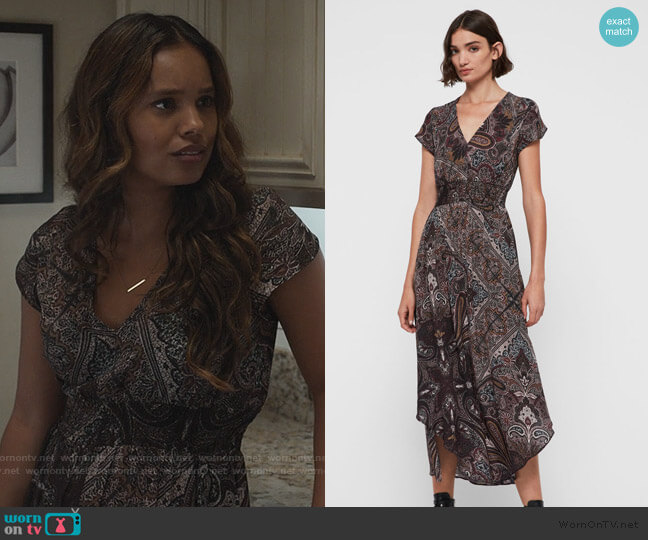Leila Scarf Dress by All Saints worn by Jessica Davis (Alisha Boe) on 13 Reasons Why
