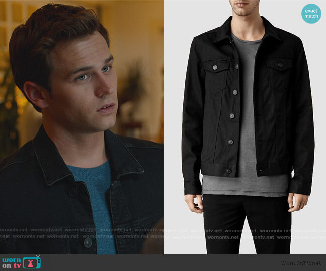 Nitrate Denim Jacket by All Saints worn by Brandon Flynn on 13 Reasons Why