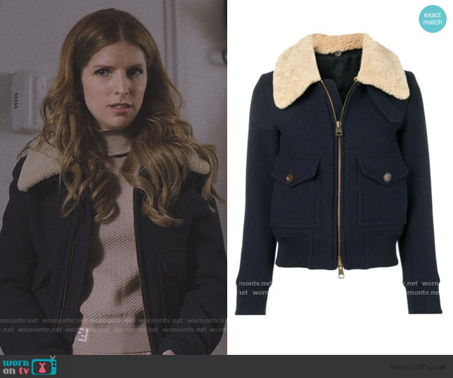 Zipped Jacket With Shearling Collar by Ami worn by Darby (Anna Kendrick) on Love Life