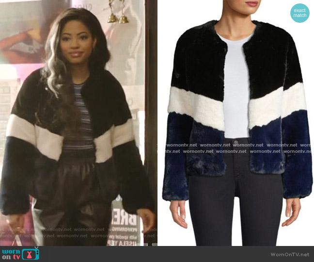 Brigitte Colorblock Faux Fur Jacket by Apparis  worn by Alexandra Cabot (Camille Hyde) on Katy Keene