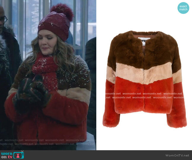 Brigitte Faux-Fur Jacket by Apparis worn by Sutton (Meghann Fahy) on The Bold Type