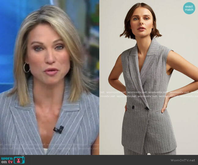 Belted Vest in Linen by Argent worn by Amy Robach  on Good Morning America
