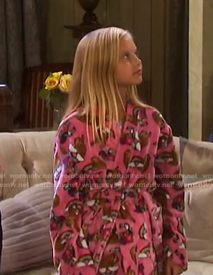 Arianna's pink sloth print robe on Days of our Lives