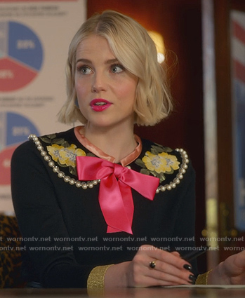 Astrid's floral pearl embellished sweater on The Politician