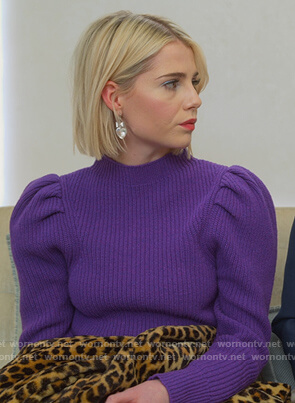 Astrid's purple puff sleeve sweater on The Politician
