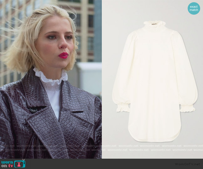 Ruffled smocked cotton and silk-blend poplin mini dress by Avavav worn by Astrid (Lucy Boynton) on The Politician