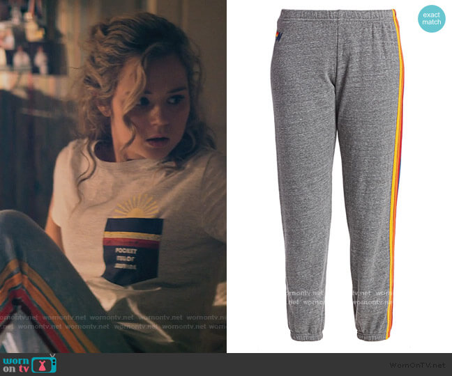 Five Stripe Sweatpants by Aviator Nation worn by Courtney Whitemore (Brec Bassinger) on Stargirl