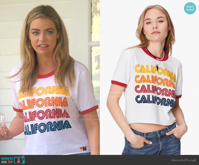 Cali Repeat Boyfriend Ringer Tee by Aviator Nation worn by Denise Richards  on The Real Housewives of Beverly Hills
