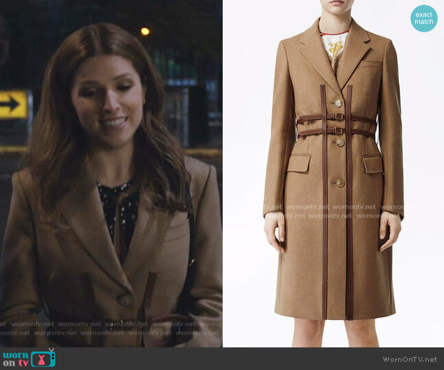 Leather Harness Detail Wool Tailored Coat by Burberry worn by Darby (Anna Kendrick) on Love Life