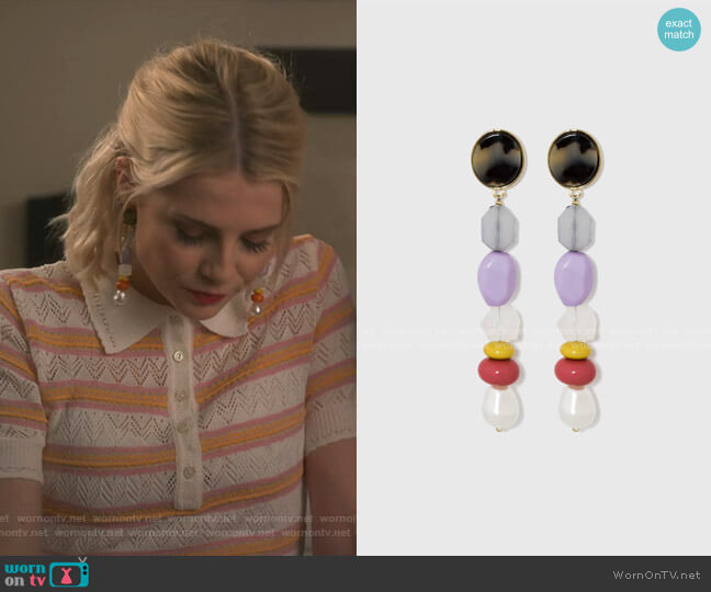 Colorful Mixed Media Drop Earrings by BaubleBar worn by Astrid (Lucy Boynton) on The Politician
