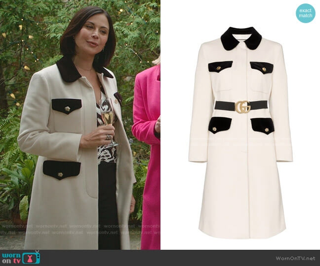 Belted Wool Coat by Gucci worn by Cassandra Nightingale (Catherine Bell) on Good Witch