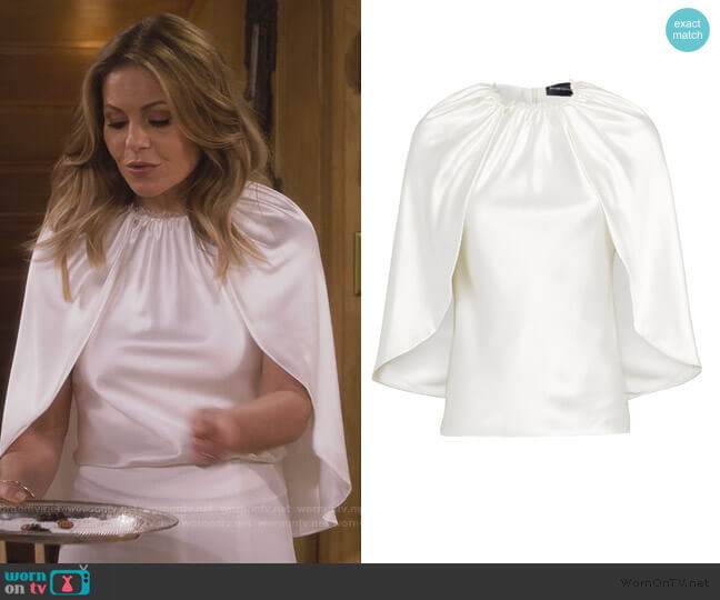 Silk Satin Cape Blouse by Brandon Maxwell worn by DJ Tanner-Fuller (Candace Cameron Bure) on Fuller House