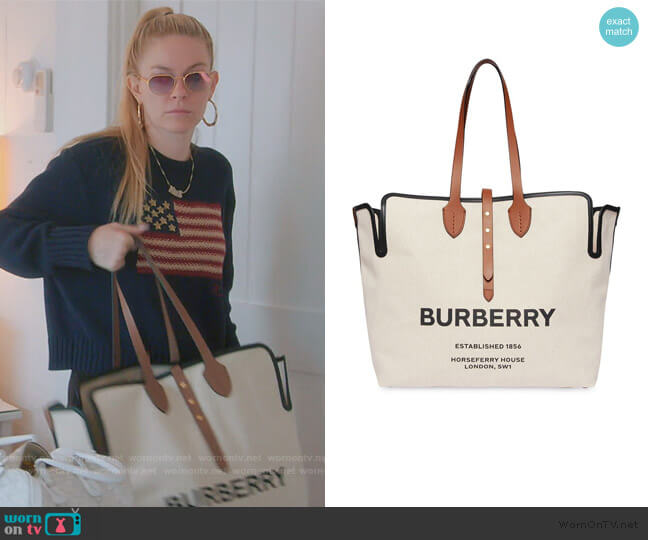 The Large Soft Cotton Canvas Belt Bag by Burberry worn by Leah McSweeney  on The Real Housewives of New York City