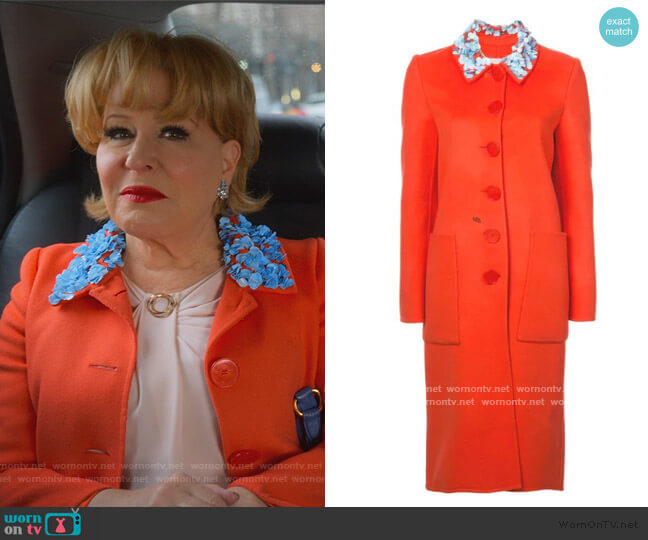 Embellished Collar Coat by Carolina Herrera worn by Hadassah Gold (Bette Midler) on The Politician
