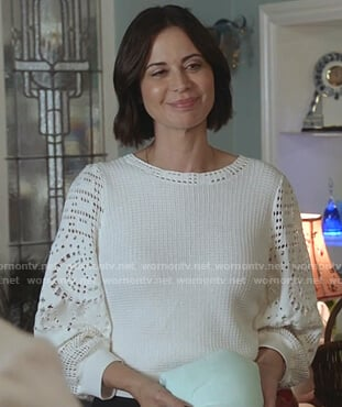 Cassie's white crochet-sleeve top on Good Witch