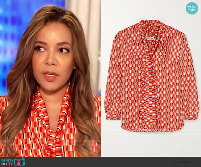 Simone pussy-bow printed satin blouse by Cefinn worn by Sunny Hostin  on The View
